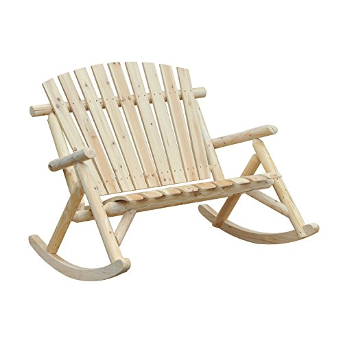 Outsunny Outdoor Double Rocking Chair Adirondack Bench, Fir Wood Log Slatted Design Patio Rocker for 2 Persons
