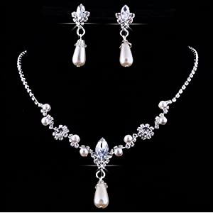 Gorgeous Wedding Bridal Prom Rhinestone Crystal Necklace Earrings Jewelry Set