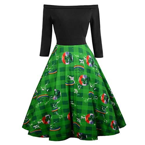 Womens ST Patrick's Day Costume Vintage Floral Swing Cocktail Dress Long Sleeve Off Shoulder Dresses (C, S)