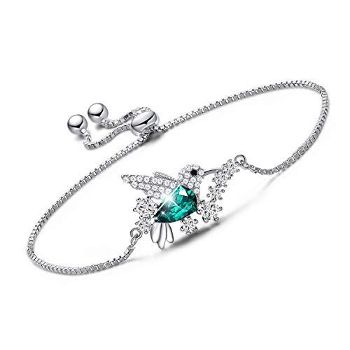 CDE Mothers Day Bracelet Jewelry Gift Hummingbird S925 Sterling Silver Bracelet, Fine Green Jewelry Bracelet Bangle Embellished with Crystals from Swarovski Women ()