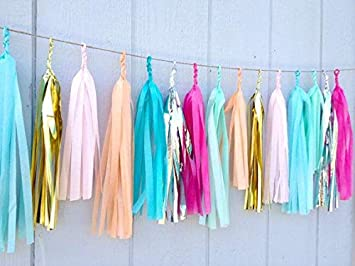 Ribbon Garlands Handmade Garland Hanging Decorations Preassembled Ribbon Tassel Garland Fabric Shabby Chic Banner for Wedding Baby Shower Birthday Party 40 in x14 in, GOLD