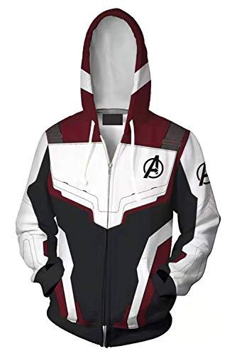 Adult Quantum Realm Hoodie Endgame Cosplay Costume Print Zipper Jacket Sweatshirt Pants Full Set Outfits White