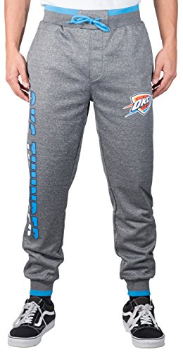 NBA Men's Oklahoma City Thunder Jogger Pants Active Basic Bounce Fleece Sweatpants, Large, Gray