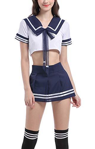 Aurueda School Girl Lingerie Outfit Mini Sailor Suit Costume Cosplay avec bas