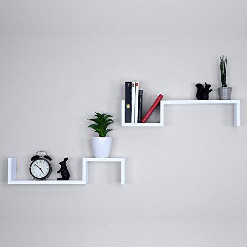 Ballucci S Wall Mounted Floating Shelves, Set of 2, Decorative Storage Shelf for Bedroom Living Room or Bookshelf, 21 x 4.75, White