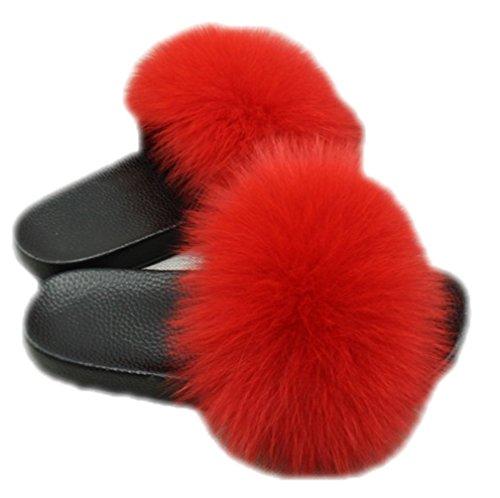 Femelle Peu Insère en Hiver Rouge Basse DTLDYG et Pantoufles Profonde Automne Renard Bouche Fourrure Forme Maison Peluche H0z7S