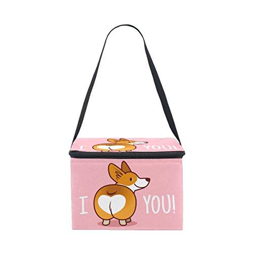 ALAZA I Love You Corgi Dog Insulated Lunch Bag Box Cooler Ba