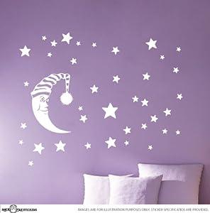 Moon Stars Children Baby Nursery Vinyl Wall Stickers   Dark Painted Walls  By STICKTAK STICKERS