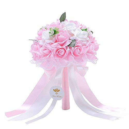 Bridal Bouquets of Artificial Flowers for Wedding with Rose Pearl and Ribbon for Bridal Bridesmaids Decorations
