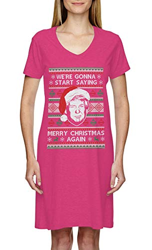 We're Gonna Start Saying Merry Christmas Again Ladies Dress (Pink, Large/X-Large)
