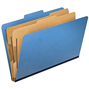 Pendaflex PressGuard Top-Tab Classification Folders, 2/5 Cut, Legal Size, Light Blue, 10 per Box (2257LB)