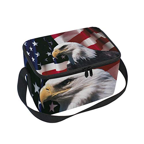 Lunch Bag American Flag With Eagle Womens Insulated Lunch Tote Zipper Kids Lunch Box