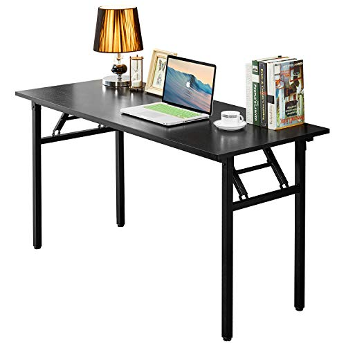 (AUXLEY Folding Computer Desk Modern Simple Writing Desk for Home Office Study, Wood and Metal Folding Table (Black, 55