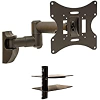 NavePoint Articulating Corner Wall Mount TV Bracket Tilt Swivel 23 - 42 Inches with Component Shelf