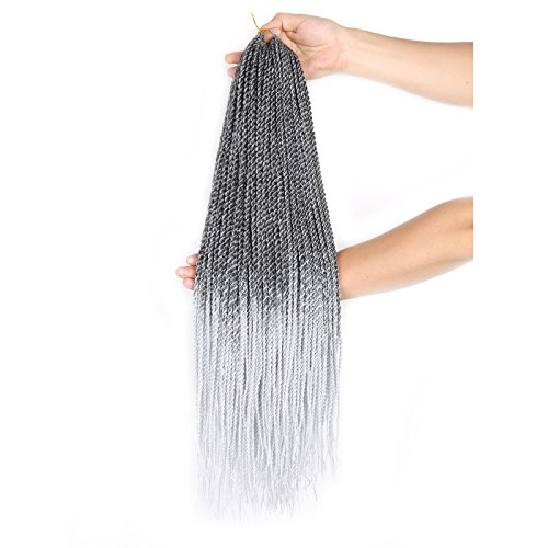 "22"" Senegalese Crochet Twist (6 Packs) (T1B/Grey) Crochet Braids Hair Senegal Twist Small 30 Strands Rope Twist Thin"
