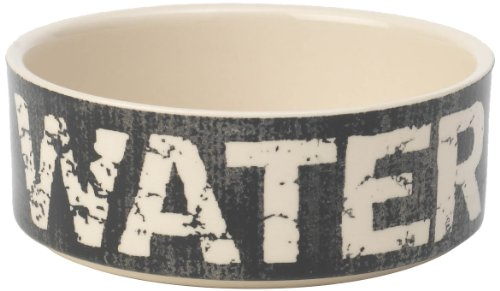PetRageous 2-Cup Water Vintage Pet Bowl, 5-Inch, Black/Natural (Water Dog Ceramic Bowl)