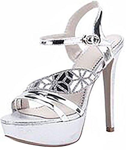 Laruise Women's Wedge Sandals Silver C5WA9xIiTN