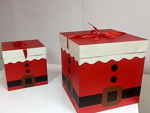dalbags – Lote de unidades 2 cajas regalo Navidad completo de cordones 2 Color Con Fondo Rojo y varios diseños Tamaño 15 x 15 x 15 cm: Amazon.es: Hogar