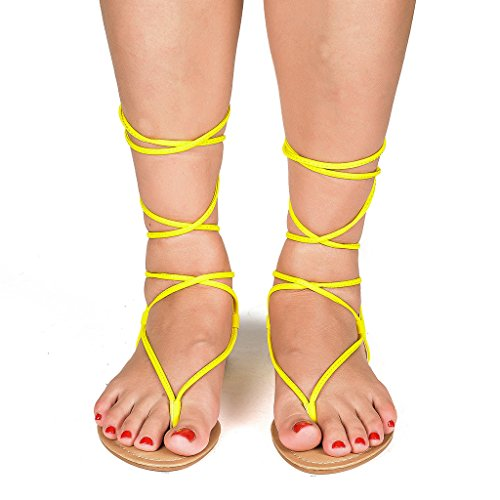 Flat up Sandals Gladiator Flat Tie Women's DARRE PAIRS DREAM Yellow Sandals n4qwxAgfY