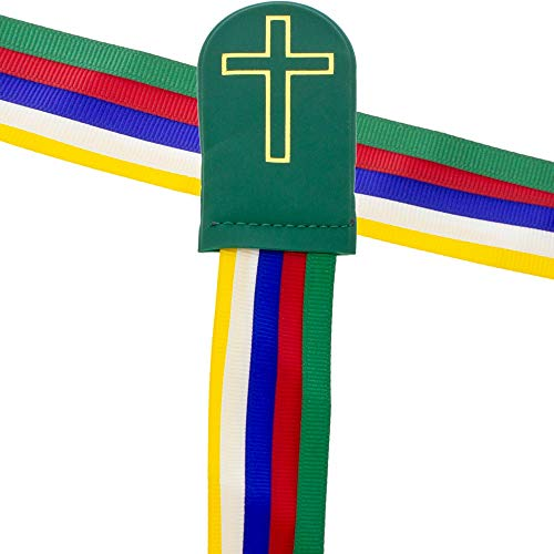 5 Woven Ribbons Bible Bookmarks Multicolored Christian (Pkg of ()