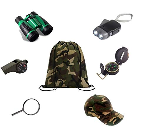 Kids Outdoor Backyard Exploration kit (7 Pieces) Explorer Adventure,Camping,Hiking, Pre-School Educational Toys/Gift Set - Backpack, Magnifying Glass, Flashlight,Compass,Binoculars,Military Style hat from New Recruits Toys