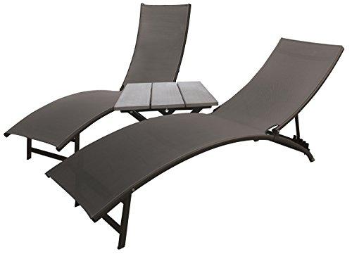 Vivere Midtown Lounger 3 Piece Aluminum Set, Black Chrome