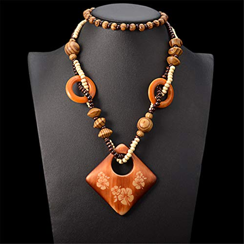 - Bohemian Long Pendant Necklace For Women Geometric Gem Party Jewelry Vintage Statement Necklace Wood Chunky Chain Collares
