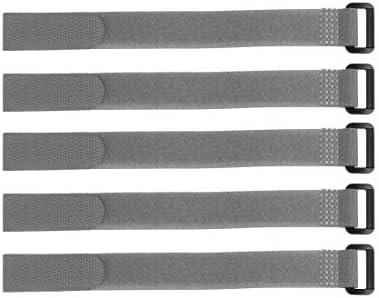 uxcell フックとループのストラップ20mm x 150mmストラップ固定 再利用可能な固定ケーブルタイ(グレー)5個
