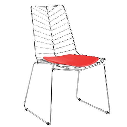 Bertoia Style Stainless Steel Wire Mesh Chair with Red Pad