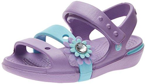 crocs Keeley Petal Charm PS Sandal (Toddler/Little Kid/Big Kid),Iris/Ice Blue,4 M US Big Kid (Charm Sandal)