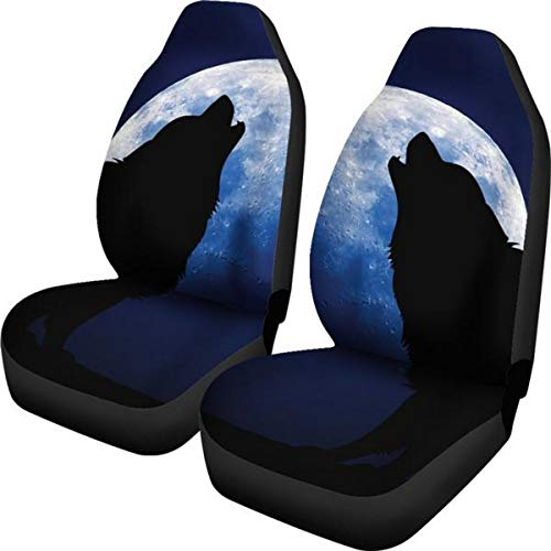 Muggalicious Wolf Howling at a Full Moon Universal Fit Car and SUV Seat Cover Set