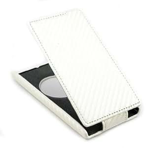 Bloutina Carbon Fiber Premium Leather Flip Skin Case Cover for Nokia Lumia 1020 White + 1 Gift