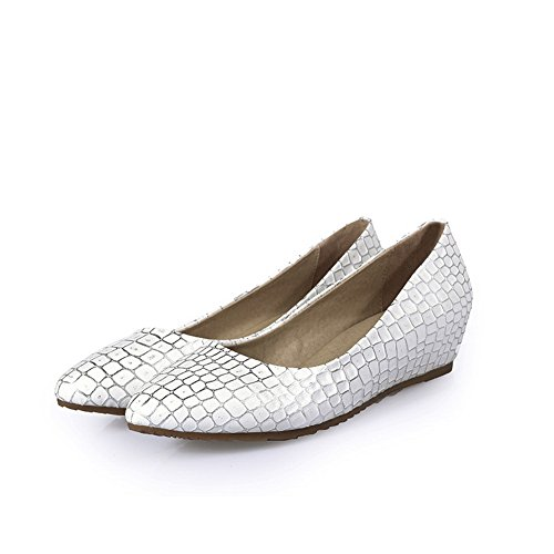 BalaMasa Girls Checkered Low-Heels Pull-On Pig Skin Pumps-Shoes White 87tVgWr