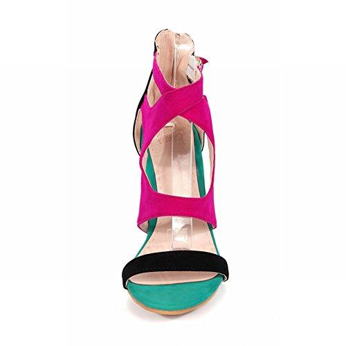 Carolbar Womens Multi Gesp Zip Assorted Colors Sexy Fashion Dress Hoge Naaldhak Sandalen Zwart