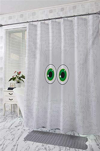 homecoco Trippy Polyester Fabric Shower Curtain High Tech Hardware Circuit Board Backdrop with Eye Forms Digital Picture Custom Shower Curtain Pearl Black Jade Green W48 x L72