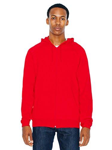 American Apparel Men California Fleece Zip Hoodie Size L Red