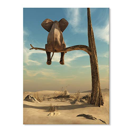 (SEVEN WALL ARTS -Canvas Wall Art Animal Resting Elephant Wall Pictures Giclee Print on Canvas Stretched Living Room Bedroom Ready to Hang 24 x 32 Inch)