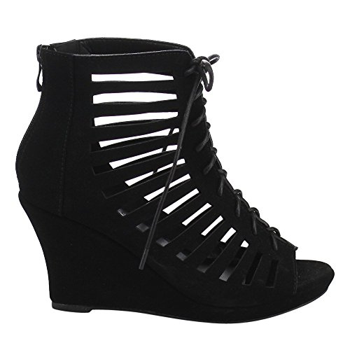 Beston CB85 Womens Peep Toe Lace Up Cut Out Gladiator Wedge Heel Ankle Booties Ankle Bootie