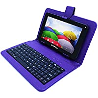 Linsay 7 QUADCORE 1024x600 HD 8GB Android 4.4 Tablet with Purple Keyboard