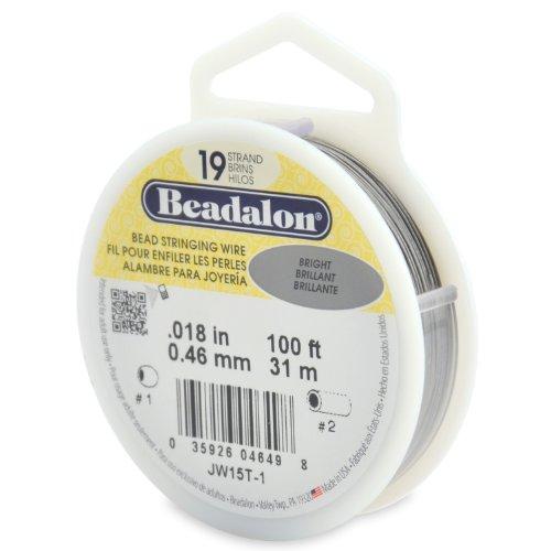 "Beadalon 19-Strand 0.018"" (0.46 mm) 100 ft (30.5 m) Bright Bead Stringing Wire"