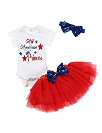 Jugendhj Babysuit ��������Toddler Baby Kid Girls 4th of July Letter Bow Bling Tutu Skirt Hairband Outfits