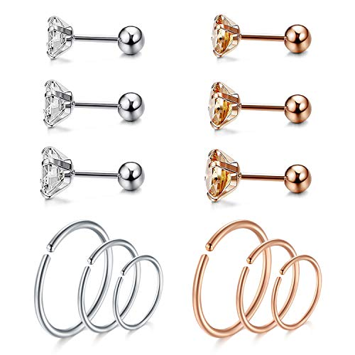 JFORYOU Silver and Rose Gold Cartilage Ring Ear Stud Helix Tragus Earrings Piercings Surgical Steel CZ Top 3-5mm, 6-10 mm Inner Diameter for Ring