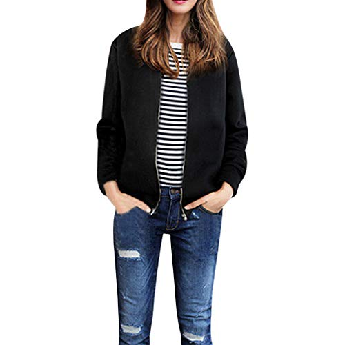 rendy Women's Zipper Baseball Coat Faux Cashmere Jacket Blouse with Pocket ()