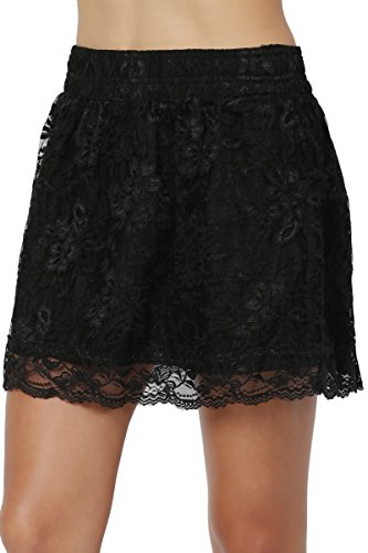 TheMogan Junior's Floral Lace Elastic Waist Flared A-Line Mini Skirt Black M