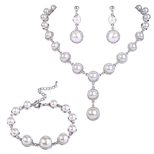 EVER FAITH Simulated Pearl Linked Dangle Necklace Earrings Bracelet Set Clear Austrian Crystal - Silver-Tone