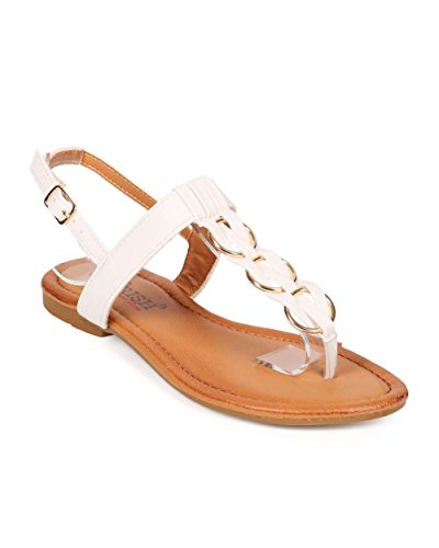Cherish EE82 Women Leatherette Woven Chain Slingback T-Strap Thong Sandal White Y1iVLgKJ6F