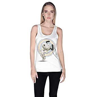 Creo White Cotton Round Neck Tank Top For Women