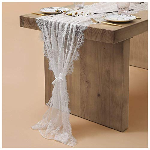 (SoarDream 5 Pieces Table Runners White Lace 30