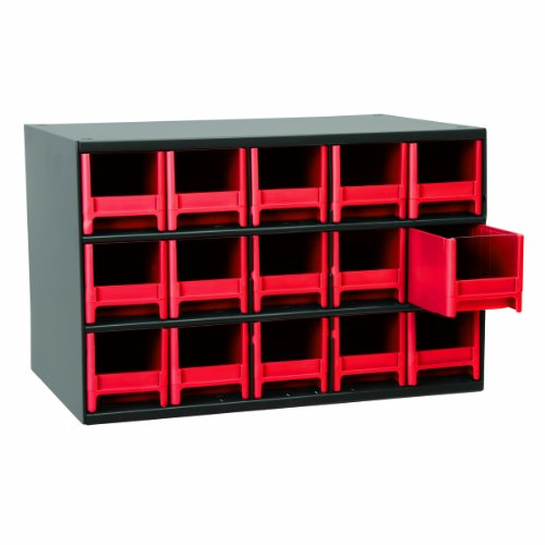 Akro-Mils 19715 17-Inch W by 11-Inch H by 11-Inch D 15 Drawer Steel Parts Storage Hardware and Craft Cabinet, Red Drawers by Akro-Mils