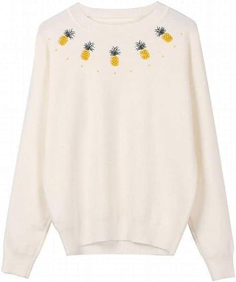 TYERY Ocio Urbano Western Pineapple Falda de Estampado Simple Conjunto Otoño Pineapple Knit Manga Larga Top + Pure Color Half Falda Ajustado Mujer, Camisa Blanca, Metro: Amazon.es: Deportes y aire libre